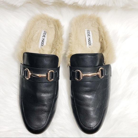 53ccbf90ed3 Steve Madden Jill Black leather fur lined loafer
